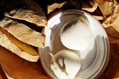 Homemade mozzarella and fresh bread stock image