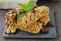 Homemade muesli bars with cranberries, nuts Royalty Free Stock Photos