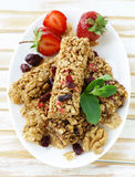 Homemade muesli bars with cranberries, nuts Royalty Free Stock Photo