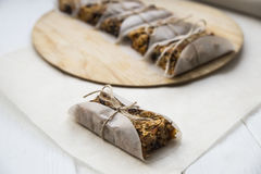 Homemade muesli bars with dried fruit, nuts and oatmeal Stock Photo