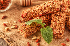 Homemade muesli bars with fruit and nuts. Royalty Free Stock Photo