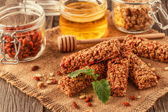 Homemade muesli bars with fruit and nuts. Stock Photo