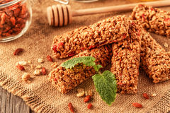 Homemade muesli bars with fruit and nuts. Royalty Free Stock Image
