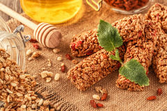 Homemade muesli bars with fruit and nuts. Royalty Free Stock Photos