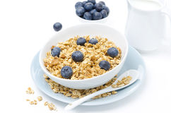 Homemade muesli, blueberries and milk, horizontal Stock Photo