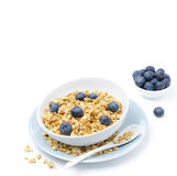 Homemade muesli and bowl of blueberries, horizontal Royalty Free Stock Images
