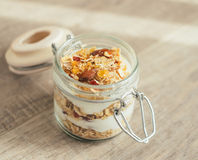 Homemade muesli with caramelized almonds Royalty Free Stock Photos