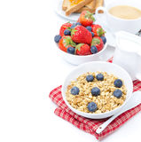 Homemade muesli with fresh berries for breakfast, isolated Stock Image