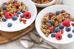 Homemade muesli with fresh berries, nut and yogurt for breakfast. Homemade muesli with fresh berries, nuts and yogurt for breakfast, close-up, top view Royalty Free Stock Image