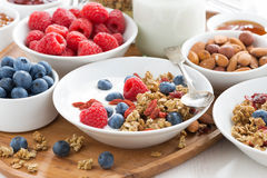 Homemade muesli with fresh berries, nuts and yogurt Stock Photo