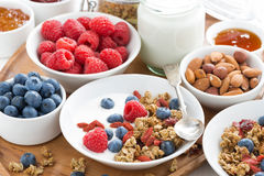 Homemade muesli with fresh berries and yogurt for breakfast Royalty Free Stock Images