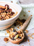 Homemade muesli with oat flakes, dried fruits and nuts in a bowl Stock Image