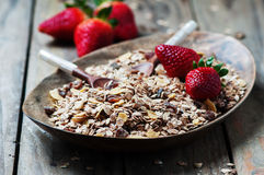 Homemade muesli with strawberry on the wooden table Stock Photo