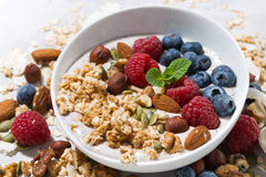 Homemade muesli with yogurt and berries, closeup. Horizontal Royalty Free Stock Images