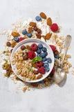 homemade muesli with yogurt and berries, top view vertical Stock Image