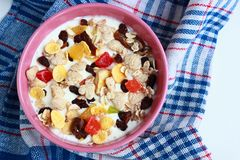 Homemade muesli with yogurt. Bowl of cereals Royalty Free Stock Photos