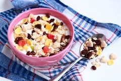 Homemade muesli with yogurt. Bowl of cereals Royalty Free Stock Images