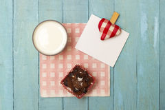 Homemade Muffin and Milk with a Note Royalty Free Stock Image