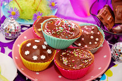 Homemade muffins on birthday party table Stock Photo