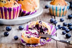 Homemade muffins with blueberries closeup Stock Photography