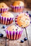 Homemade muffins with blueberries closeup Stock Photo