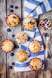 Homemade muffins with blueberries top view Royalty Free Stock Photos