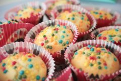 Homemade muffins, colorful,. Homemade muffins, colored, with colored sugar drops, multicolored. depth of field Stock Photos