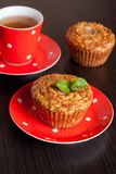 Homemade muffins and cup of tea Stock Photos