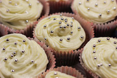 Homemade muffins. Cupcakes background, closeup Stock Images