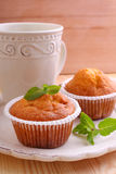 Homemade muffins decorated mint Royalty Free Stock Photography