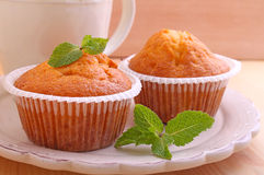 Homemade muffins decorated mint Royalty Free Stock Photo