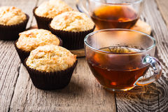 Homemade muffins and hot tea Stock Image
