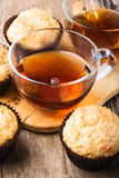 Homemade muffins and hot tea Stock Images