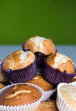 Homemade muffins. A lot of homemade muffins, focus on the center Royalty Free Stock Images