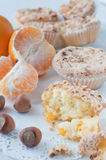 Homemade muffins with mandarins Royalty Free Stock Image