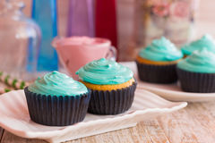 Homemade muffins with mint cream. Cupcakes with mint cream on a tray Stock Image