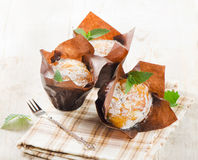 Homemade Muffins with mint Stock Photography