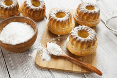 Homemade muffins powdered sugar Royalty Free Stock Photography