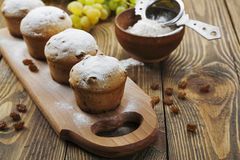 Homemade muffins with raisins and powdered sugar Royalty Free Stock Images