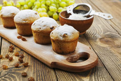 Homemade muffins with raisins and powdered sugar Royalty Free Stock Photos