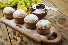 Homemade muffins with raisins and powdered sugar Royalty Free Stock Image