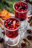 Homemade mulled wine with orange slices, cranberries, cinnamon and anise Stock Images