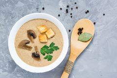 Homemade mushroom cream soup with champignons and breadcrumb. Top view Stock Photography