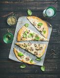 Homemade mushroom pizza with basil and rose wine Stock Image