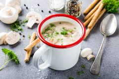 Homemade mushrooms champignons soup. White enamel mug with delicious homemade mushrooms champignons soup with parsley. Healthy food concept Stock Images