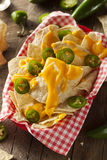 Homemade Nachos with Cheddar Cheese Stock Photo