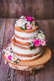 Homemade naked cake Stock Image