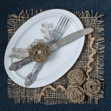 Homemade napkin of burlap for table Stock Image