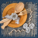 Homemade napkin of burlap for table Stock Images