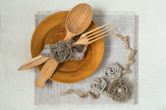 Homemade napkin of burlap for table Royalty Free Stock Photography